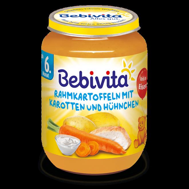 БЕБЕВИТА ПЮРЕ КАРТОФИ/МОРКОВИ/ПИЛЕШКО 190Г