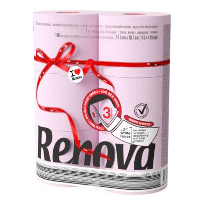 Ренова Тоалетна Хартия Ред Лейбъл Розова 3 пласта 6 ролки