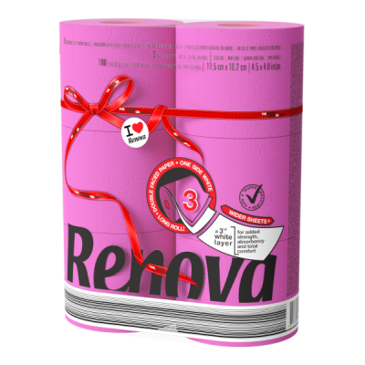 Ренова Тоалетна Хартия Ред Лейбъл Цикламена 3 пласта 6 ролки