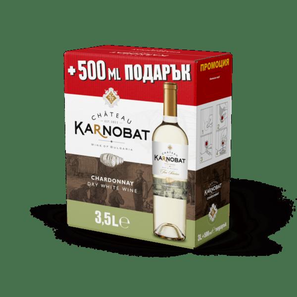 ШАТО КАРНОБАТ БЯЛО ВИНО ШАРДОНЕ 3Л