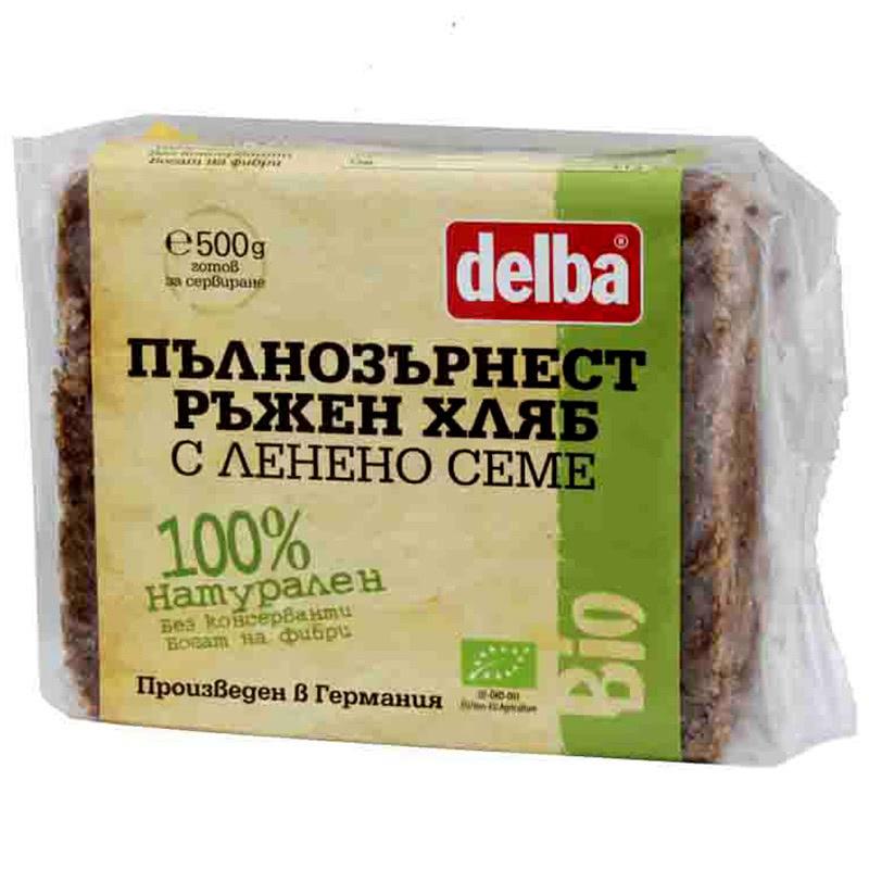 ДЕЛБА ПЪЛНОЗЪРНЕСТ ХЛЯБ РЪЖЕН/ЛЕНЕНО СЕМЕ БИО 500Г