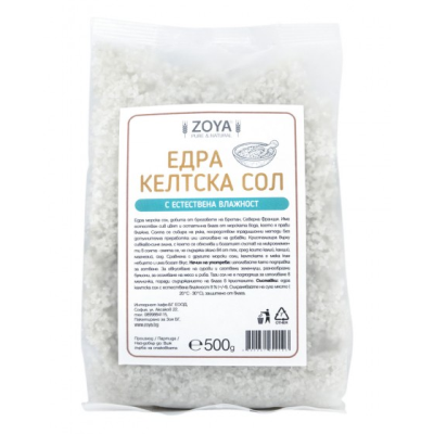 Зоя келтска сол едра с естествена влажност  500г